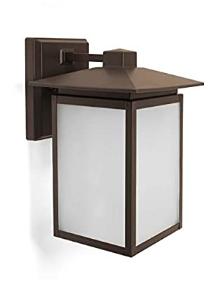 CORAMDEO Outdoor LED Wall Sconce Lantern for Porch, Patio, Wet Location, Built in LED Gives 125W of Light from 12.5W of Power, 1250 Lumens, 3K, Durable Aluminum with Bronze Finish & Frosted Glass