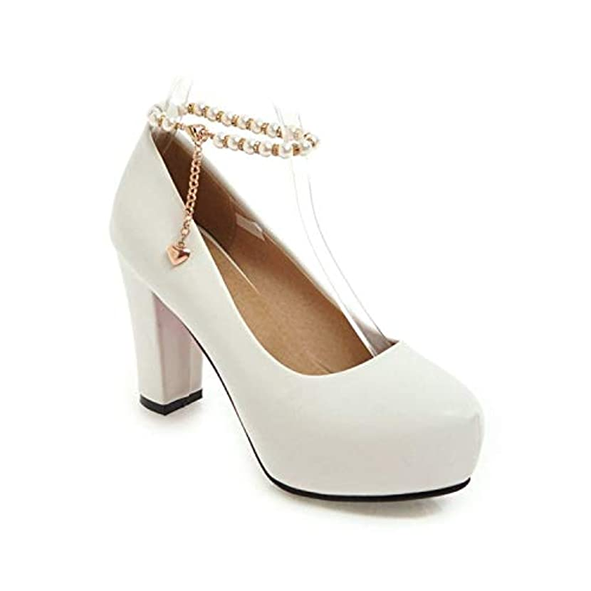 Ankle Strap Faux Pearl Chains Platform Pumps High Heels Dress Shoes for Women Girls