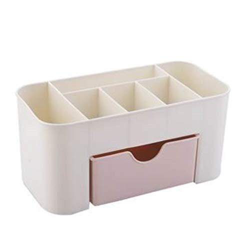 JIE Estuche cosmético de Escritorio de Color Liso con Caja de Almacenamiento de cajón pequeño Caja de Almacenamiento Rosa