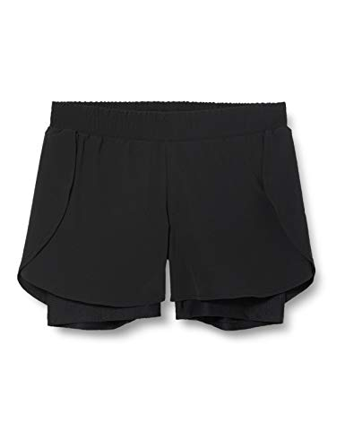 Amazon Brand - AURIQUE Women's Double Layer Running Shorts, Black (Black/Black), 12, Label:M