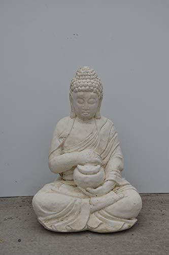 Vieille Pierre Bouddha Assis Mm Coloris Statue