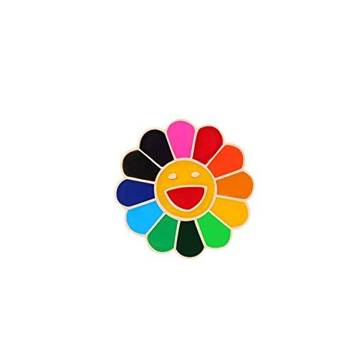 WEHONG Moda Arco¨ªris Flor Alfileres Esmaltados Girasol Sonriente Lindos Broches Bolsa Mochila Ropa Pin Insignias Regalos???Color Rianbow