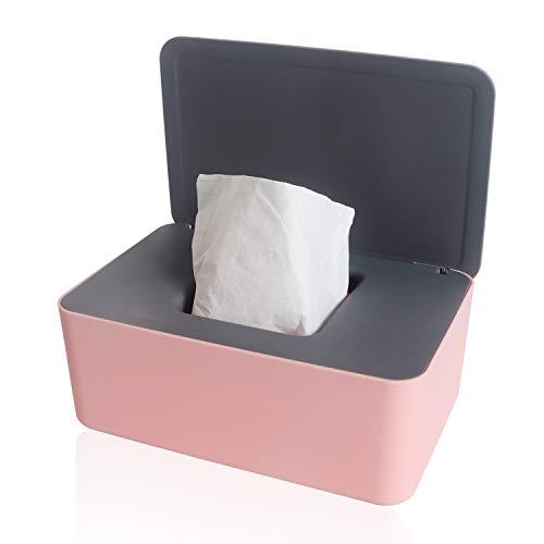 Chanurae Caja para toallitas húmedas, caja para toallitas húmedas, caja de almacenamiento con tapa, caja de pañuelos, para coche, dispensador de toallitas húmedas, caja de pañuelos rosa + gris