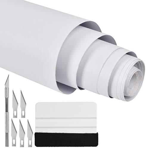 OFNMY Impermeable Pegatinas de Pared PVC Autoadhesivo con Cuchillo de Trinchar Rascador para Armario,Puerta,Muebles 40cm*5m (Blanco)