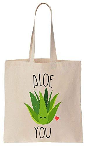 Finest Prints Aloe You Sac fourre-tout en toile de coton vert à l'aloe vera