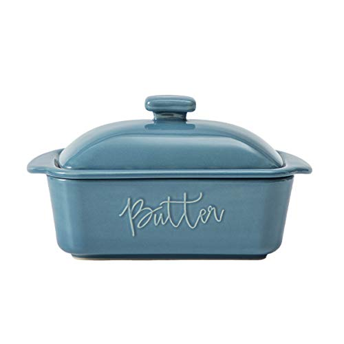 FE Butter Dish, 10 oz Caremic Butter Keeper with Water Line, Butter Boat, French Butter Dish with Lid for Countertop(Blue)