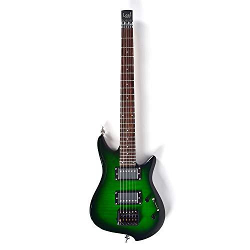 E-Gitarre Asmuse Ultraleicht Tragbar Beruf Reisegitarre Leaf E-Gitarre Grün Geeignet für Anfänger