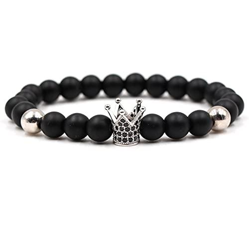 SMEJS - Brazalete de joyería con cuentas de Buda, corona real, circonita de diamantes, yoga, piedra de lava, con cuentas, chapada, pulsera elástica, cuerda de mano, encanto, pareja, regalo para h