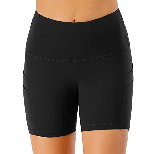Pantalones Cortos de Correr Deportivos para Mujer, Pantalones cortos de deportes de mujer Cintura alta Tummy Control Skinny Yoga Shorts Entrenamiento Running Gym Leggings Verano Pantalones calientes c