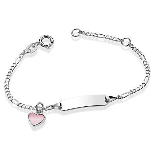 MATERIA Gravur Armband Herz rosa - 925 Silber Armkettchen Baby Kinder Mädchen in Etui SA-113-Ohne Gravur