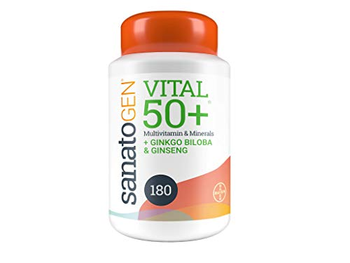 Sanatogen 50+ Multivitamin and Minerals with Gingko Biloba & Ginseng, for Men & Women - 180 Tablets Containing 22 Essential Vitamins and Minerals Including Vitamins D, C, B12.