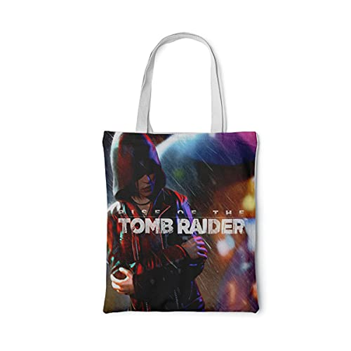 PAWANG Entwerfen Sie eine wiederverwendbare Einkaufstasche Tomb Raider: The Rise of Lara Croft Leinwand Einkaufstasche Strandtasche Einkaufstasche multifunktionale Einkaufstasche 15 x 16 inch