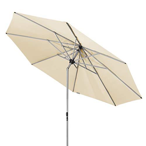Doppler Active TELESKOP – Innovativer Sonnenschirm ideal für Terrasse und Garten – Knickbar – ca. 340 cm – Natur