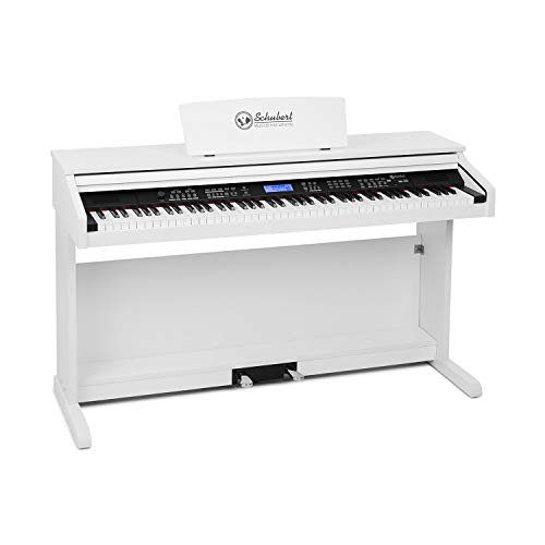 Schubert Subi 88 MK II - Piano digital, Teclado eléctrico de 88 teclas, MIDI, USB, 360 sonidos, 160 ritmos, 80 canciones demo, Pantalla LCD, Compatible con sistemas Hi-Fi PA, Blanco