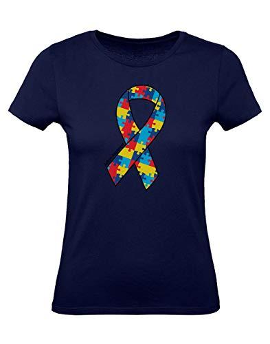 Green Turtle T Shirts Camiseta para Mujer   Large Autism Awareness Colorful Puzzle Ribbon XX Large Azul Oscuro