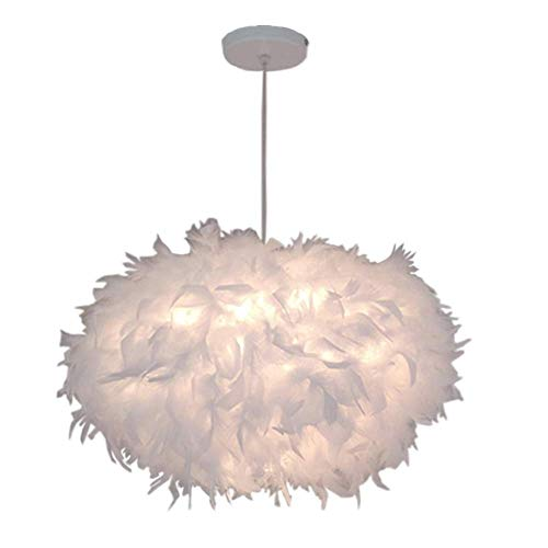 Lámpara colgante de plumas blancas E27 45 cm, lámpara de techo para dormitorio, salón o restaurante (bombilla no incluida)