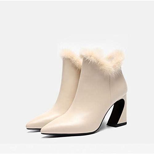 IWxez Chaussures Confort pour Femme. Bottes d'été en Cuir Nappa à Talon Plat, Noir Beige