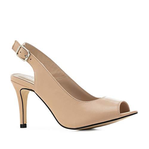 Andres Machado salón Destalonado de tacón Alto para Mujer/Chica - Zapatos de señora - en Cuero Color Crema, Talla 33 EU