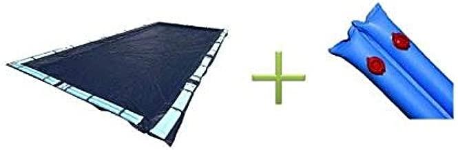 18x36 Dark Blue Winter Rectangular Inground Swimming Pool Cover w/Water Tubes