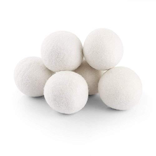 VISTANIA Wolltrockner-Bälle Organisch (6 Pack XL) 100% Reine Neuseeland-Wolle, Wiederverwendbarer Natürlicher Ungiftiger Gewebe-Weichmacher-Statischer Minderer Verringert Trocknende Zeit