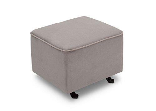 Delta Furniture Gliding Ottoman, Dove Grey with Soft Grey Welt