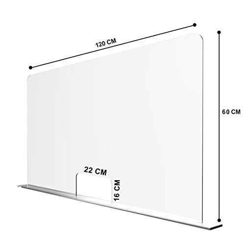 Solarplexius Spuckschutz mit Durchreiche Hustenschutz Niesschutz Virenschutz Thekenaufsatz Tischaufsatz Tresenaufsatz Antibakteriell Transparent Acrylglas (16cm | 120 x 60 cm)