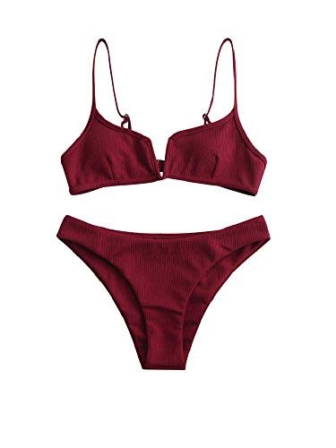 ZAFUL Damen Bikini Set Zweiteilige Badeanzug High Cut Bralette Sexy Swimsuit Sommer (Weinrot, M)