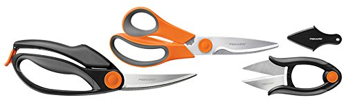 Fiskars 3 Piece Heavy-Duty, All-Purpose Fast-Prep Kitchen Shears Set, 510061-1001,Gray