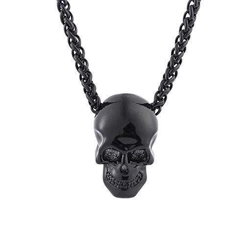Kreative Schädel Kopf Halskette Persönlichkeit Hip Hop Halloween Anhänger Schmuck Pistole schwarz