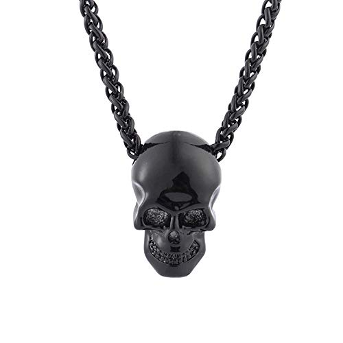 Creativo cráneo Cabeza Collar Personalidad Hip Hop Halloween Colgante joyería Pistola Negro