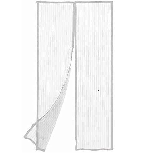 Virsus Mosquitera magnética con medida 110 x 220 cm, cortina de 2 paneles para puertas, ventanas, balcones, antimosquitos e insectos para cocina, salón, color blanco