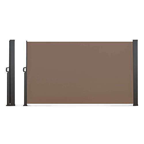 IDMarket - Paravent extérieur rétractable 400 x 180 cm Taupe Store latéral