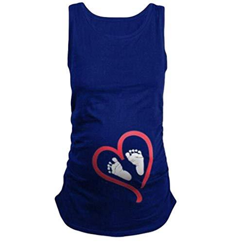Huixin Femmes De Maternité Empreinte Décontractée Cadeau De Manches Vêtements Grossesse sans Chemise De Maternité Infirmière Maman Ras du Cou De Maternité pour La Maternité T Shirt Gilet Blouse