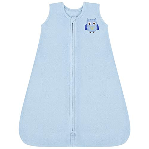 TILLYOU All Season Micro-Fleece Baby Sleep Bag and Sack with Inverted Zipper, Clothes for Infant Newborn Ages 0-6 Months, Sleeveless Warm Ultra Soft Plush Wearable Blanket TOG 1, Small S, Blue Owl