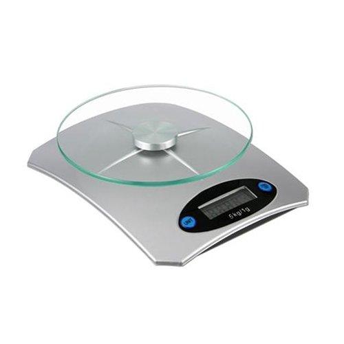 HI Digital köksvåg med glasskiva, silver, 18 x 18 x 10 cm