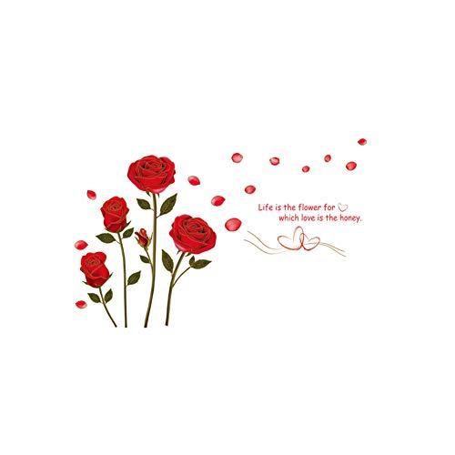 Vektenxi Rote Rose Blume Wandaufkleber Wandtattoo Home Room Art Decor DIY u0026 Pfund; u0026 uml; Rot u0026 Pfund; u0026 Kopie; Gute Qualität