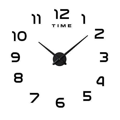 Eternity Equal Modern DIY Grote Wandklok Grote Horloge Sticker 3D Stickers Romeinse cijfers Wandklok Home Office Verwijderbare Decoratie voor Woonkamer (Batterij NIET inbegrepen), Zwart