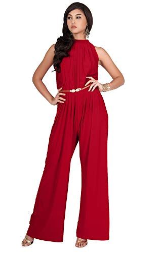 KOH KOH Plus Size Womens Sexy Sleeveless Halter-Neck Wide Leg Pants Cocktail Overall Long Work Day Suit Pant Suits Pantsuit Playsuit Jumpsuit Jumpsuits Romper Rompers, Red XL 14-16