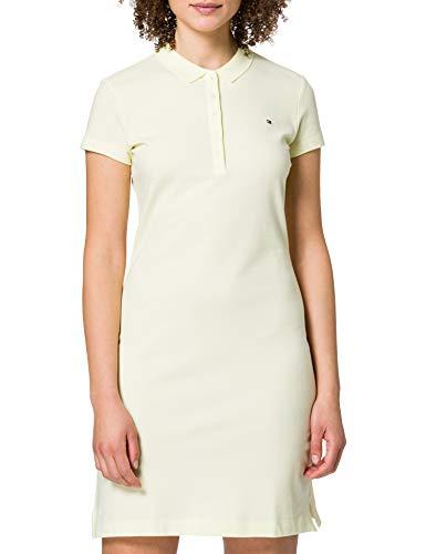 Tommy Hilfiger Slim Short Polo Dress SS Vestido Informal, Amarillo, S para Mujer