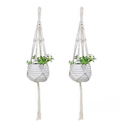 Honglimeiwujindian kleerhangers van macramé, 2 potten, katoenen koord, handgemaakt, om op te hangen, voor huis, binnen, buiten, plafond, houder voor planten, decoratie in de tuin