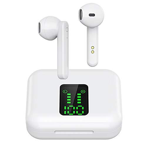 Haihui Auriculares inalámbricos Bluetooth con cancelación de ruido (estuche de carga rápida) con micrófono integrado, auriculares in-ear con Bluetooth