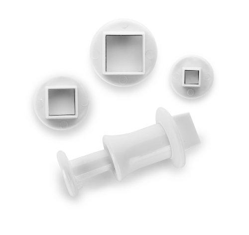 IBILI Ausstechformen-Set quadratisch mit Auswerfer 3-teilig, Kunststoff, weiß, 14 x 8 x 3 cm, 3-Einheiten