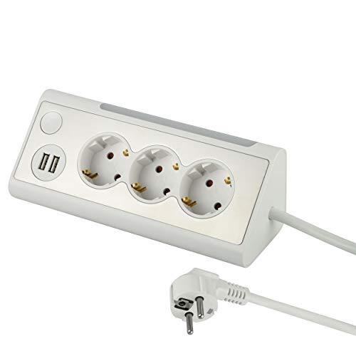 Electraline 62513, Mehrfachsteckdose, 3-Fach Steckdosenleiste mit 2 USB-Anschluss und LED-Nachtlicht (mit Schalter) Multifunktionale Ecksteckdose für Küche und Büro (1, 5M Kabel), weiß