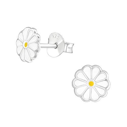 Laimons – Orecchini per bambine e bambine con fiore di margherita bianco giallo dolce piccolo 6 mm in argento Sterling 925