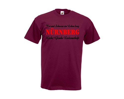 Fruit of the Loom Nürnberg Ultras T-Shirt Die Legende lebt! Rot & Schwarz EIN Leben lang M