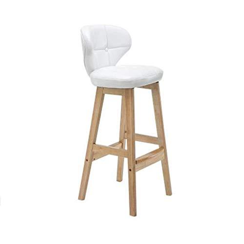 Stool barkruk met rugleuning, buitenmateriaal van kunstleer, massief hout, basis voor ontbijtbar bar, barkruk keuken en huis barkruk 65cm Wit