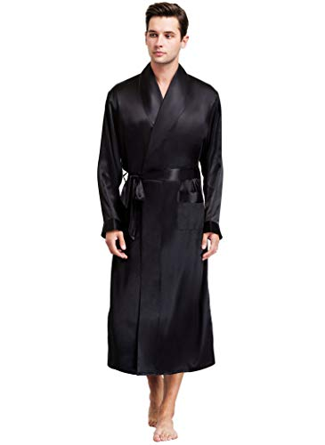 Mens Silk Satin Bathrobe Robe Nightgown Black 3XL
