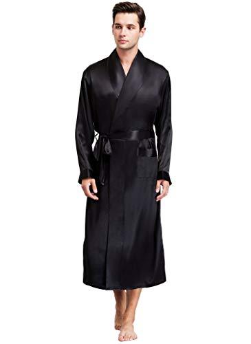 Herren Seide Bademantel Schlafanzug Schwarz Medium
