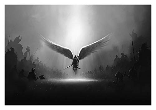 Unframed Fantasy Angel Wings Warrior Black and White Art Large Poster & Canvas Pictures 24x36 Inches (Frameless)