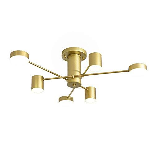 HLL Lámpara de techo Nordic Chandelier Sputnik, lámpara colgante para sala de estar, lámpara colgante LED de latón cepillado con acabado negro mate, para lámpara de techo para dormitorio, luz dorada